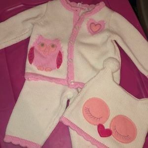 Valentine's Day matching knit owl set Lilly Wicket